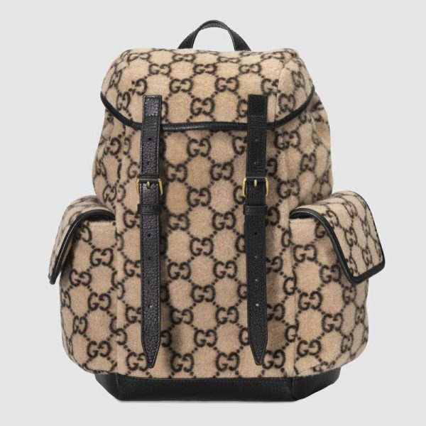 Gucci GG Unisex Small GG Wool Backpack in Wool and Leather-Beige