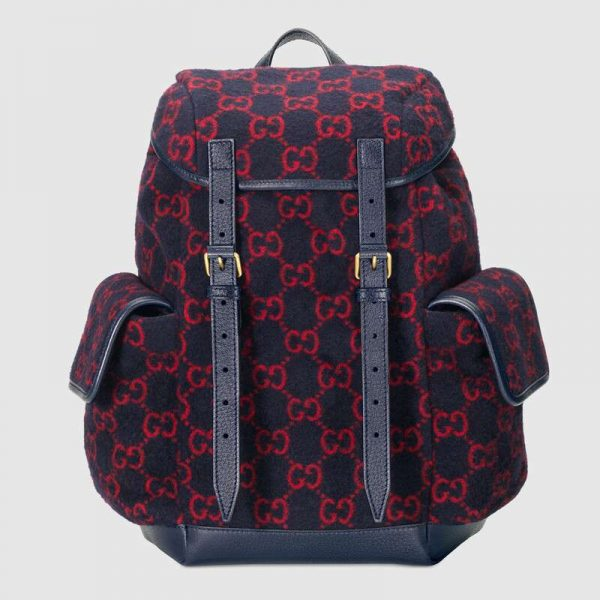 Gucci GG Unisex Small GG Wool Backpack in Wool and Leather-Blue