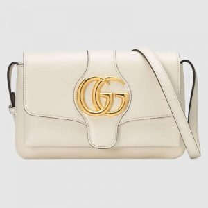 Gucci GG Women Arli Small Shoulder Bag in Leather with Double G Hardware-White