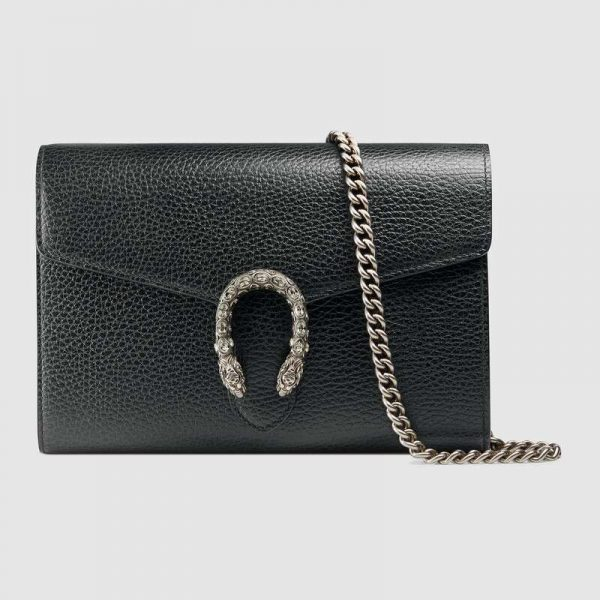 Gucci GG Women Dionysus Leather Mini Chain Bag with Tiger Head Spur-Black