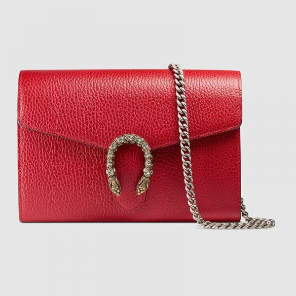 Gucci GG Women Dionysus Leather Mini Chain Bag with Tiger Head Spur-Red