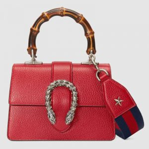 Gucci GG Women Dionysus Mini Top Handle Bag in Textured Leather-Red