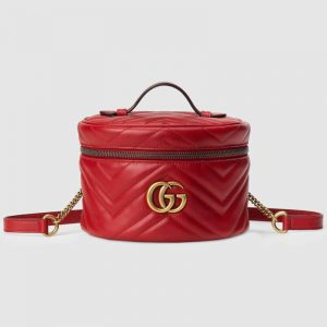 Gucci GG Women GG Marmont Mini Backpack in Matelassé Chevron Leather-Red