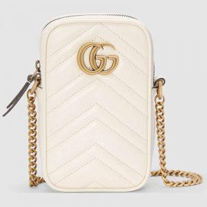 Gucci GG Women GG Marmont Mini Bag in Matelassé Chevron Leather-White