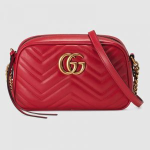 Gucci GG Women GG Marmont Small Shoulder Bag in Matelassé Chevron Leather-Red