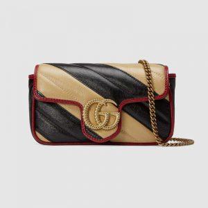 Gucci GG Women GG Marmont Super Mini Bag in Diagonal Matelassé Leather-Beige