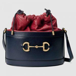 Gucci GG Women Gucci 1955 Horsebit Bucket Bag in Textured Leather Bottom-Blue