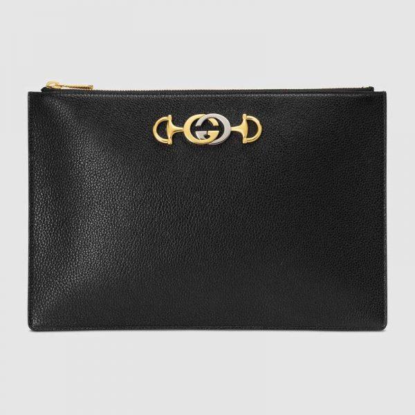 Gucci GG Women Gucci Zumi Grainy Leather Pouch-Black