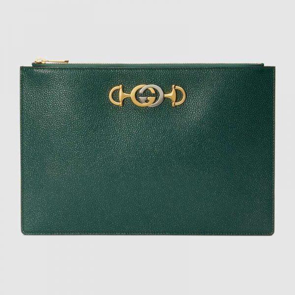 Gucci GG Women Gucci Zumi Grainy Leather Pouch-Green