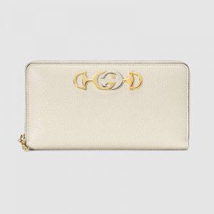 Gucci GG Women Gucci Zumi Grainy Leather Zip Around Wallet-White