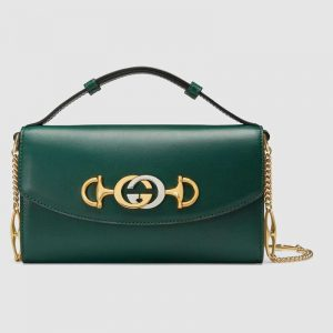 Gucci GG Women Gucci Zumi Smooth Leather Mini Bag with Interlocking G Horsebit-Green
