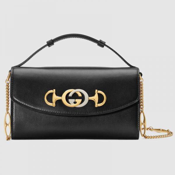 Gucci GG Women Gucci Zumi Smooth Leather Mini Bag with Interlocking G Horsebit-Black
