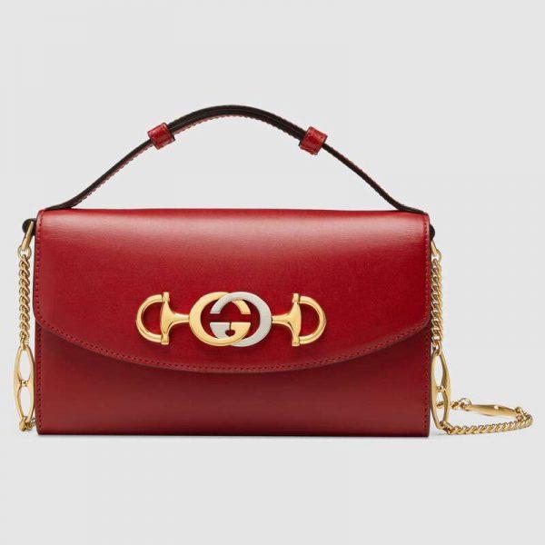 Gucci GG Women Gucci Zumi Smooth Leather Mini Bag with Interlocking G Horsebit-Red