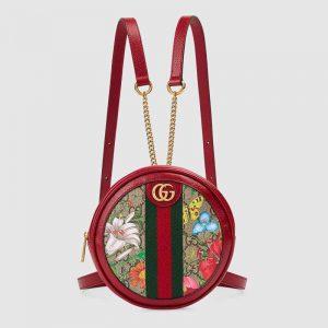 Gucci GG Women Ophidia GG Flora Mini Backpack in BeigeEbony GG Supreme Canvas