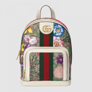 Gucci GG Women Ophidia GG Flora Small Backpack in BeigeEbony GG Supreme Canvas