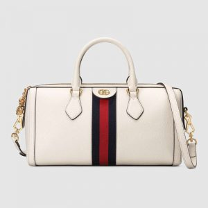 Gucci GG Women Ophidia Medium Top Handle Bag in White Leather