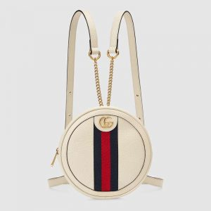 Gucci GG Women Ophidia Mini Backpack with Blue and Red Web in White Leather