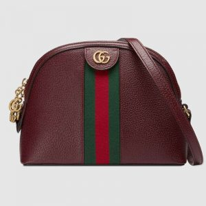 Gucci GG Women Ophidia Small Shoulder Bag in Leather Green and Red Web-Maroon