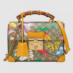 Gucci GG Women Padlock GG Flora Small Bamboo Shoulder Bag