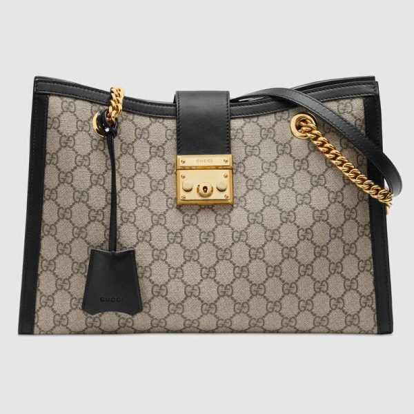 Gucci GG Women Padlock GG Medium Shoulder Bag in GG Supreme Canvas with Leather-Beige