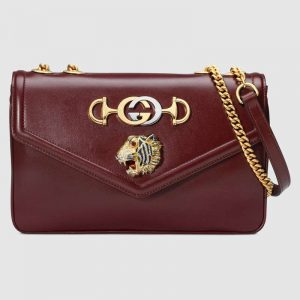 Gucci GG Women Rajah Medium Shoulder Bag in Leather with Tiger Head-Maroon