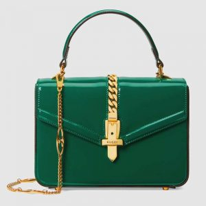 Gucci GG Women Sylvie 1969 Patent Leather Mini Top Handle Bag-Green