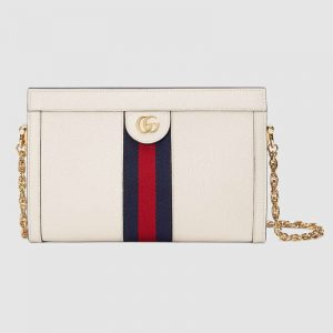 Gucci Women Ophidia Small Shoulder Bag in Leather Green and Red Web-White