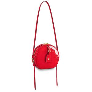 Louis Vuitton LV Women Boite Chapeau Souple Handbag in Glossy Monogram Vernis Embossed Patent Leather-Red