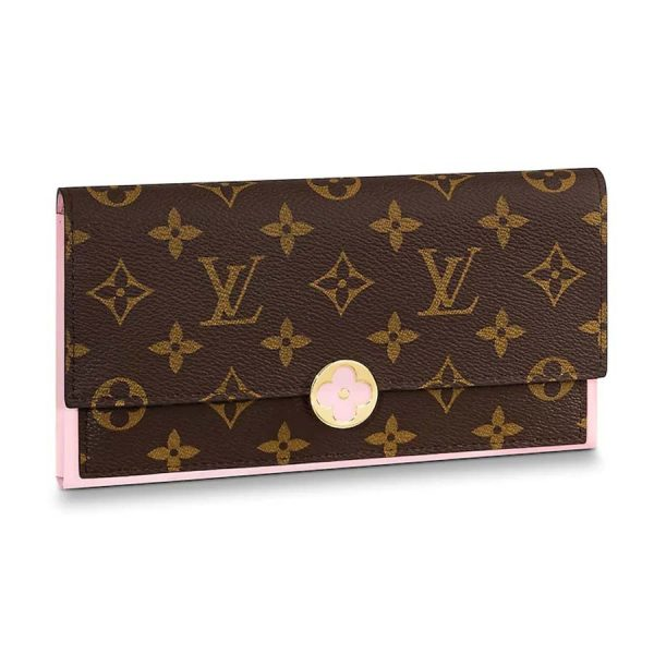 Louis Vuitton LV Women Flore Wallet in Monogram Coated Canvas and Calf Leather-Pink