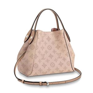 Louis Vuitton LV Women Hina PM Handbag in Mahina Perforated Calf Leather-Pink