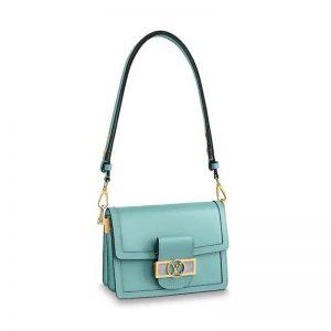 Louis Vuitton LV Women Mini Dauphine Bag in Smooth Calfskin Leather-Aqua