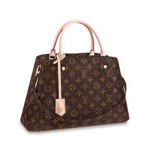 Louis Vuitton LV Women Montaigne MM in Iconic Monogram Canvas-Brown
