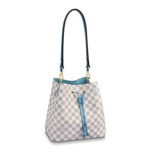 Louis Vuitton LV Women NéoNoé Bucket Bag in Damier Azur Canvas-Blue
