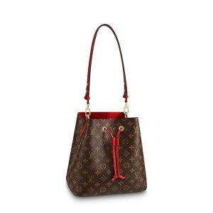 Louis Vuitton LV Women NéoNoé MM Bucket Bag in Monogram Coated Canvas-Red