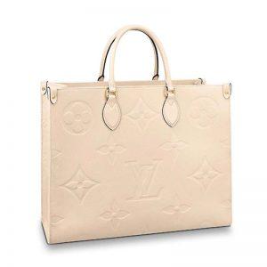 Louis Vuitton LV Women Onthego GM Tote in Monogram Empreinte Giant-Beige