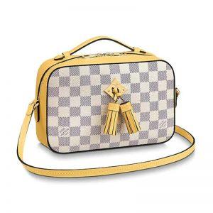 Louis Vuitton LV Women Saintonge Handbag in Damier Azur Coated Canvas-Yellow