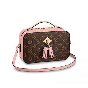 Louis Vuitton LV Women Saintonge Handbag in Monogram Canvas and Smooth Leather-Pink