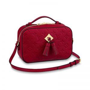 Louis Vuitton LV Women Saintonge Handbag in Monogram Empreinte Leather-Red
