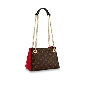 Louis Vuitton LV Women Surene BB Handbag in Monogram Canvas and Grained Calf Leather-Red