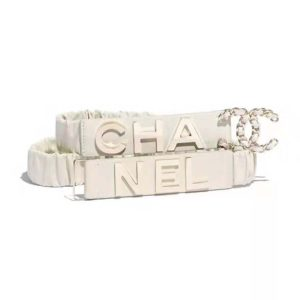 Chanel Women Goatskin & Gold-Tone Metal Belt-White