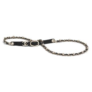 Chanel Women Lambskin Gold-Tone Metal & Glass Pearls Belt-Black