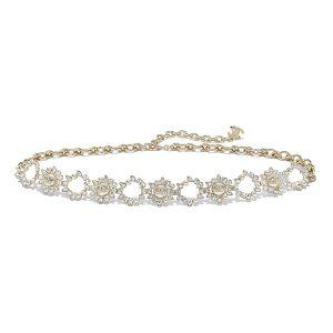 Chanel Women Metal Glass Pearls Strass & Resin Belt-Gold
