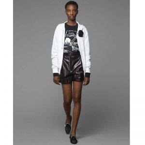 Chanel Women Sweatshirt in Cotton White Black Navy Blue & Silver