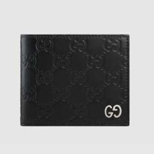 Gucci GG Men Gucci Signature Wallet in Black Gucci Signature Leather with Details