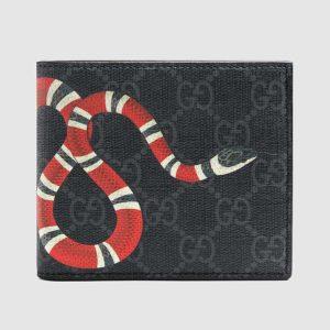 Gucci GG Men Kingsnake Print GG Supreme Wallet in BlackGrey GG Supreme Canvas