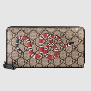 Gucci GG Men Kingsnake Print GG Supreme Zip Around Wallet in BeigeEbony GG Supreme
