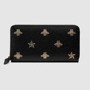 Gucci GG Unisex Bee Star Leather Zip Around Wallet in Black Metal-Free Tanned Leather
