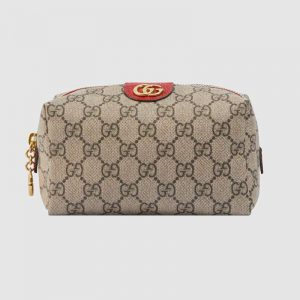 Gucci GG Unisex Ophidia GG Cosmetic Case in GG Supreme Canvas-Red
