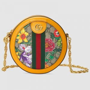 Gucci GG Women Ophidia GG Flora Mini Round Shoulder Bag in BeigeEbony GG Supreme Canvas