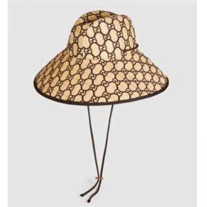 Gucci Unisex GG Raffia Wide Brim Hat in Mustard and Dark Brown Raffia